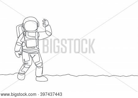 One Single Line Drawing Cosmonaut Make Okay Gesture With His Fingers In Moon Surface Graphic Vector