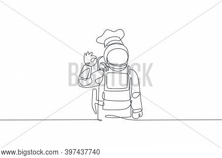 One Single Line Drawing Of Young Astronaut Chef Giving Okay Taste Gesture For Delicious Food Vector