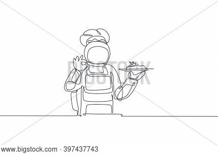 One Single Line Drawing Of Young Astronaut Giving Okay Hand Gesture For Tasty Food, Cafe Restaurant