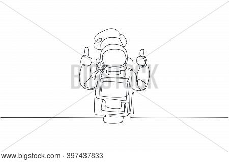 One Continuous Line Drawing Of Young Astronaut Chef Giving Thumbs Up Gesture For Delicious Food. Hea