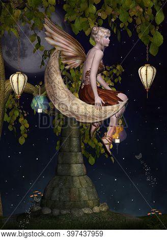 Blonde Fairy Sitting On A Pedestal Under The Moonlight - 3d Illustration