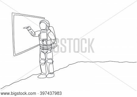 One Continuous Line Drawing Of Young Astronaut Explaining Formula And Writing On Whiteboard In Moon