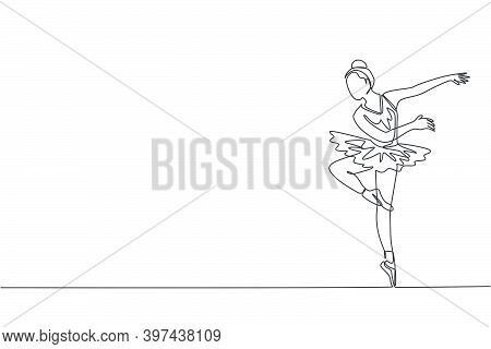 Single Continuous Line Drawing Of Young Graceful Pretty Ballerina Demonstrated Classic Ballet Choreo