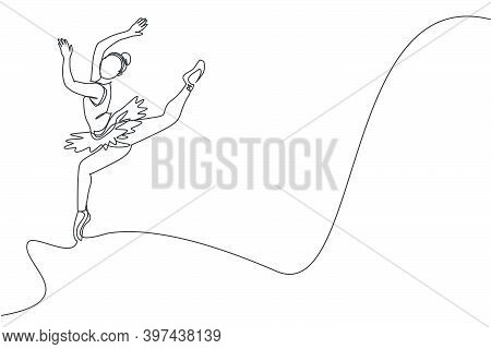 One Single Line Drawing Of Young Beauty Dancer Woman On Tutu Jumping Exercise Classic Ballet Dance A