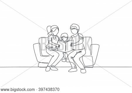 Single Continuous Line Drawing Of Young Mother And Father Siting On Sofa Reading A Storybook To Thei