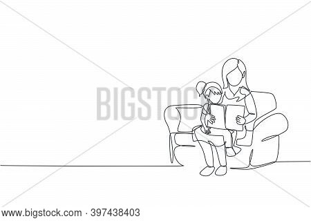 Single Continuous Line Drawing Young Mother Siting On Sofa Hugging Her Daughter And Reading A Storyb