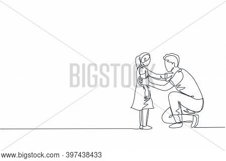 Single Continuous Line Drawing Of Young Dad Giving Some Wise Advice Talk To His Daughter At Home. Ha