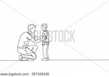 One Continuous Line Drawing Of Young Father Giving Some Wise Advice Talk To His Son At Home, Family