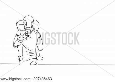 One Continuous Line Drawing Of Young Mother Hugging Her Sleepy Son While Holding Airplane Toy At Hom
