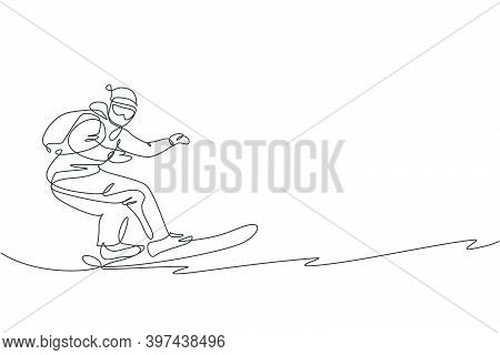 One Continuous Line Drawing Of Young Sporty Man Snowboarder Riding Snowboard In Alps Snowy Powder Mo