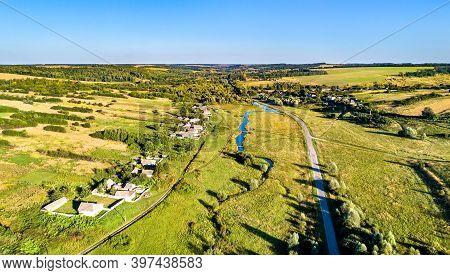 Aerial Landscape Of The Central Russian Upland. Kosinova Village, Kursk Region.