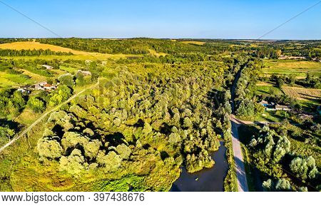 Aerial Landscape Of The Central Russian Upland. Stoyanova Village, Kursk Region.