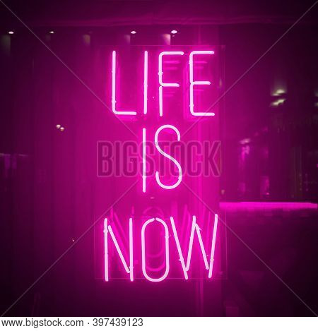 Vivid Pink Neon Sign About Life. Life Is Now Motivation. Urban City Light Window With Bright Signboa