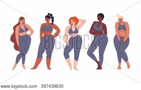 Set Of Multicultural Girls Of Different Skin Colors, Shapes, And Hairstyles. A Collection Of Young D