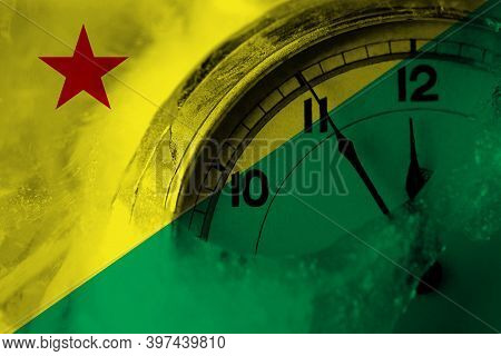 Brazil States Acre Flag With Clock Close To Midnight In The Background. Happy New Year Concept