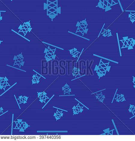 Blue Antenna Icon Isolated Seamless Pattern On Blue Background. Radio Antenna Wireless. Technology A