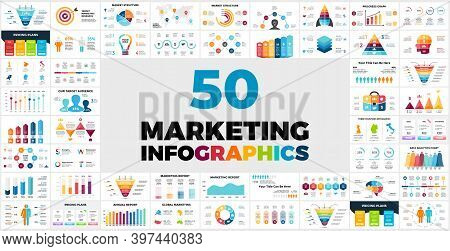 50 Marketing Infographic Templates For Your Presentation. Included Elements From Sales Funnels Or Hu