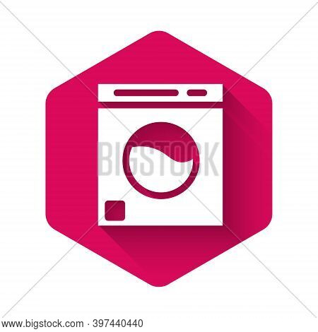 White Washer Icon Isolated With Long Shadow. Washing Machine Icon. Clothes Washer - Laundry Machine.