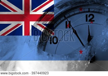New Zealand, Ross Dependency Flag With Clock Close To Midnight In The Background. Happy New Year Con