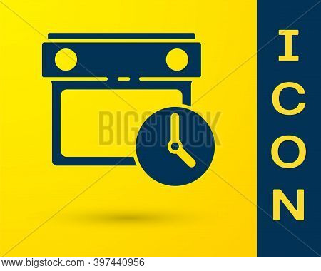 Blue Calendar And Clock Icon Isolated On Yellow Background. Schedule, Appointment, Organizer, Timesh