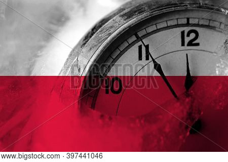 Poland, Polish, Pole Flag With Clock Close To Midnight In The Background. Happy New Year Concept