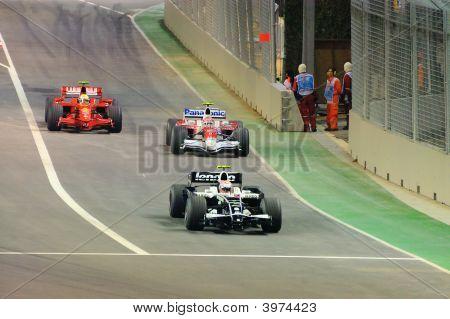 Ferrari Toyota And Williams F1 Cars Exiting Pit Lane