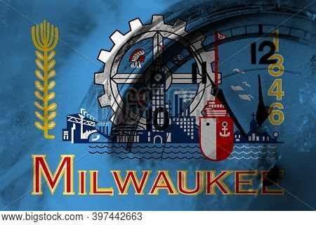 United States Of America, America, Us, Usa, American, Milwaukee, Wisconsin Flag With Clock Close To