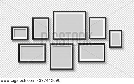 Black Blank Photo Frame Set. Empty Pictures On Wall. Square And Rectangle Art Gallery Poster