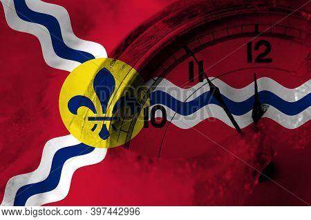 United States Of America, America, Us, Usa, American, Saint Louis, Missouri Flag With Clock Close To