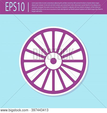 Retro Purple Alloy Wheel For A Car Icon Isolated On Turquoise Background. Vector