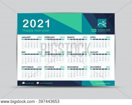 Calendar 2021 template, Desk calendar design, Happy New year 2021, minimal trendy style, Wall calendar 2021 design, wall calendar 2021 green background layout,  Week start on Sunday, Set of 12 Months, Green background, vector illustration