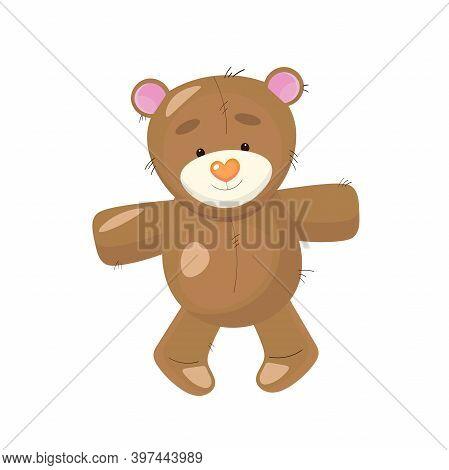 Cute Plush Teddy Bear Toy. Vector Illustration.