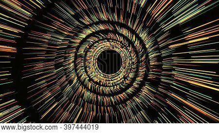 Rotating Tunnel With Shining Lines On Black Background. Animation. Shining Rings Of Strokes Rotate T