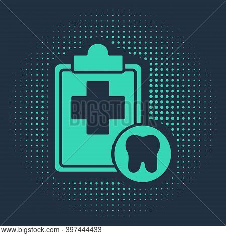 Green Clipboard With Dental Card Or Patient Medical Records Icon Isolated On Blue Background. Dental
