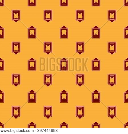 Red Clipboard With Dental Card Or Patient Medical Records Icon Isolated Seamless Pattern On Brown Ba