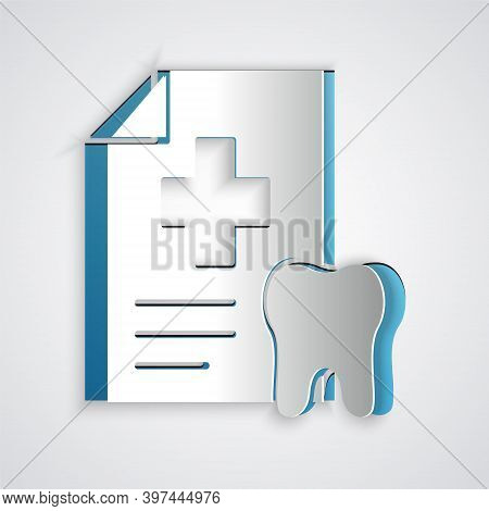 Paper Cut Clipboard With Dental Card Or Patient Medical Records Icon Isolated On Grey Background. De