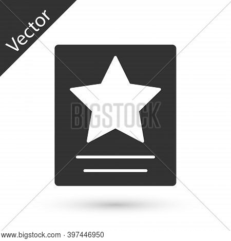 Grey Hollywood Walk Of Fame Star On Celebrity Boulevard Icon Isolated On White Background. Famous Si