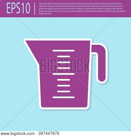 Retro Purple Measuring Cup To Measure Dry And Liquid Food Icon Isolated On Turquoise Background. Pla
