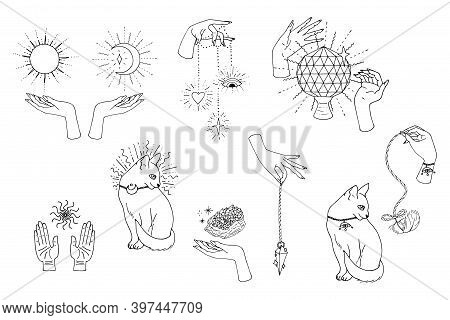 Hand Drawn Doodle Set Of Black Line Art In Boho Style. Scenes With Female Witch Hands Holding Sacred