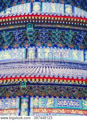 Detailed Design On The Eaves And Beams Of The Main Hall Of The Temple Of Heaven In Beijing, China