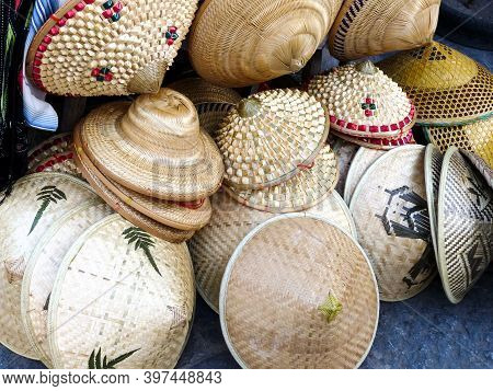 Asian Bamboo Hats Sold At A Local Market In Yangshuo, China