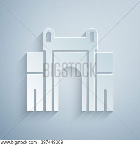 Paper Cut India Gate In New Delhi, India Icon Isolated On Grey Background. Gate Way Of India Mumbai.