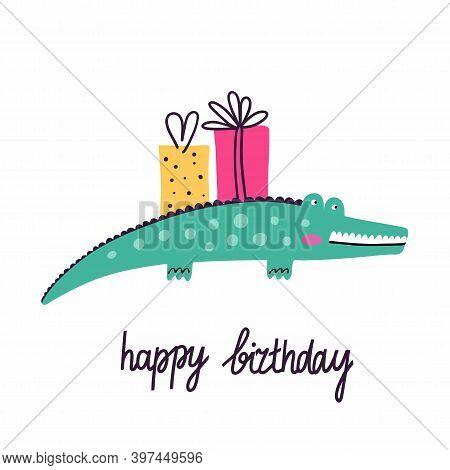 Happy Birthday. Postcard In Primitive Minimalist Style, Cute Crocodile With Festive Presents And Gif