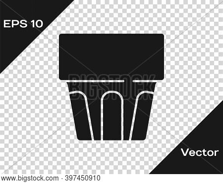 Black Glass With Water Icon Isolated On Transparent Background. Soda Drink Glass. Fresh Cold Beverag