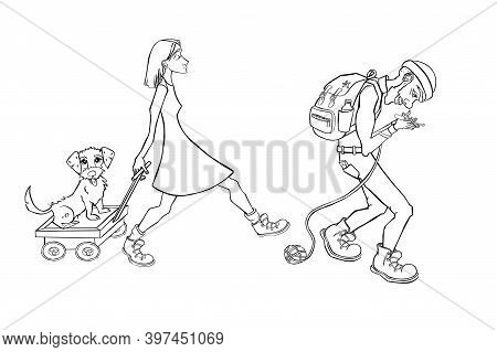 Cartoon Family Camping. People Carry Camping Equipment