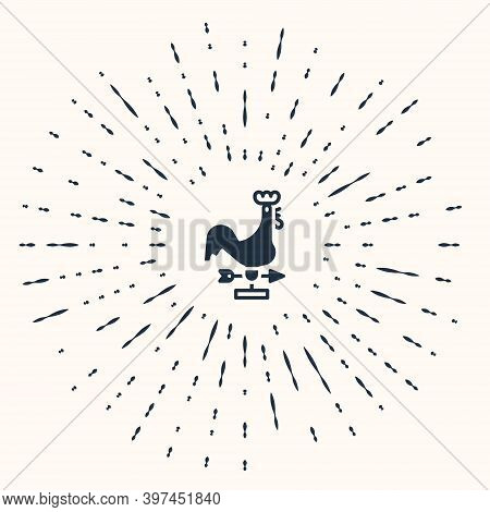 Grey Rooster Weather Vane Icon Isolated On Beige Background. Weathercock Sign. Windvane Rooster. Abs
