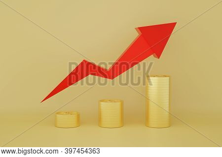Dollar Coins Stack With Red Arrow Line Chart And Going Up Graph With Gold Background. Concept For Fi
