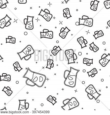Black Line Sangria Icon Isolated Seamless Pattern On White Background. Traditional Spanish Drink. Ve