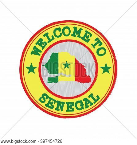 Vector Stamp Of Welcome To Senegal With Map Outline Of The Nation In Center. Grunge Rubber Texture S
