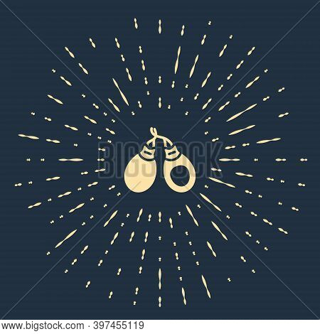 Beige Musical Instrument Castanets Icon Isolated On Blue Background. Abstract Circle Random Dots. Ve